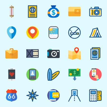 Icons set about Travel with smartphone, point of service, surfboard, money, passport and no smoking.
