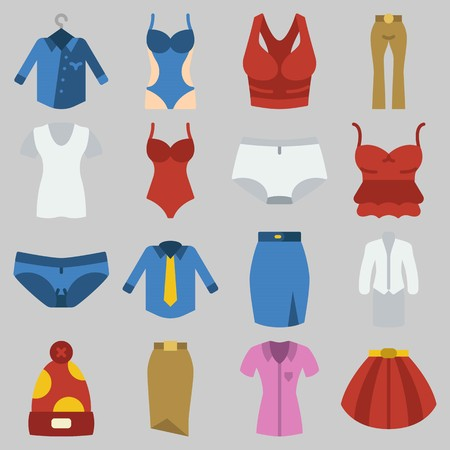 Icon set about Women Clothes with keywords panties, suit, skirt, thank top, swimsuit and pants
