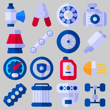 Icon set about Car Engine with keywords radiator, gauge, chain, exhaust pipe, air filter and manifold