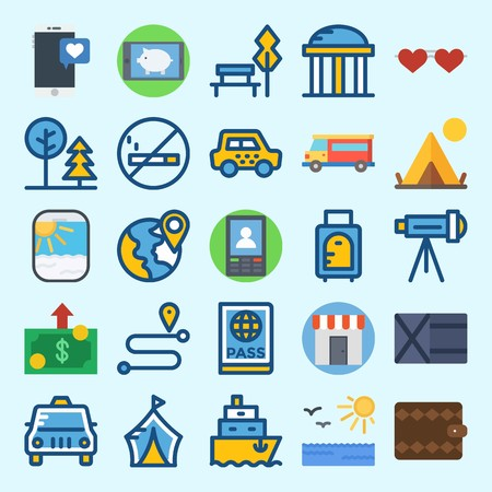 Icons set about Travel with smartphone, plane, location, passport, wallet and telescope