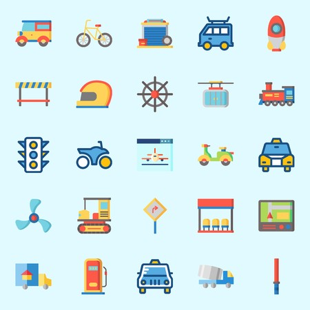 Icons set about Transportation with bus stop, road sing, cable car, taxi, stick and rocket