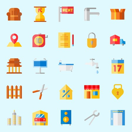 Icons set about Real Assets with for rent, padlock, seventeen, sit down, location and maps and flags Illustration