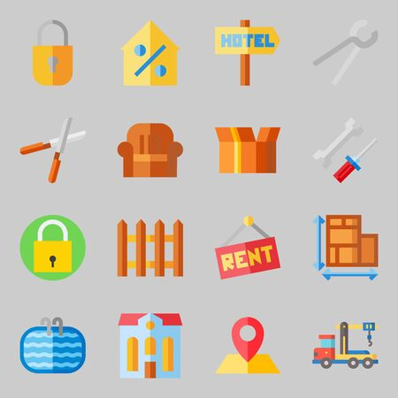 Icons set about Real Assets with crane, packaging and percentage