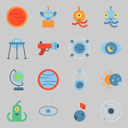Icons set about Universe with moon, orbit and blaster