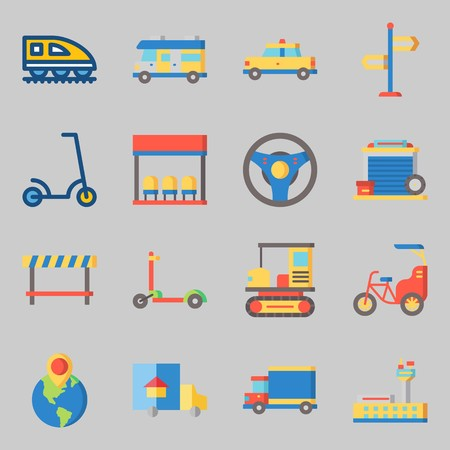 Icons set about Transportation with road block, steering wheel and taxi Illustration