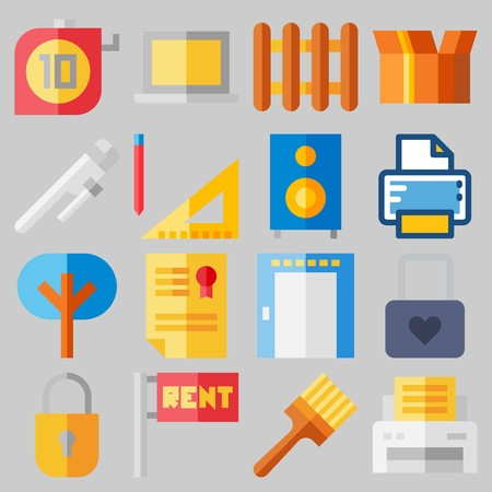 Icon set about Real Assets with keywords title, reparation, for rent, single, painted and measuring Illustration
