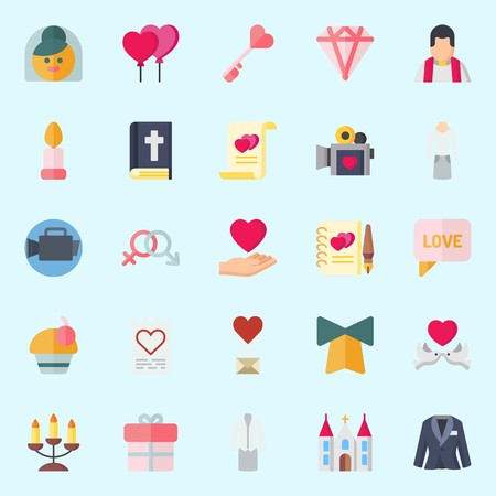 Icons set about Wedding with diamond, marriage, love birds, chat, love letter and suit Illustration