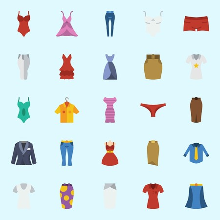 Icons set about Women Clothes. with swimsuit, dress, sleeveless, skirt, shirt and panties Illustration