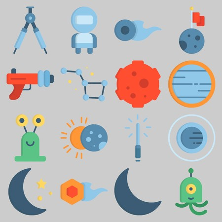 Icon set about Universe with keywords comet, lightsaber, orbit, eclipse, compass and constellation