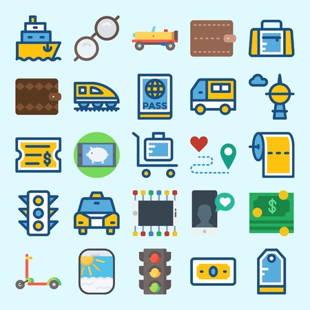 Icons set about Travel with scooter, money, smartphone, car, suit case and sport bag
