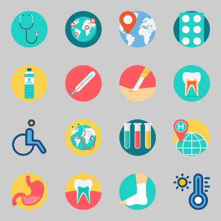 Icons set about Medical with surgery, teeth and tablets
