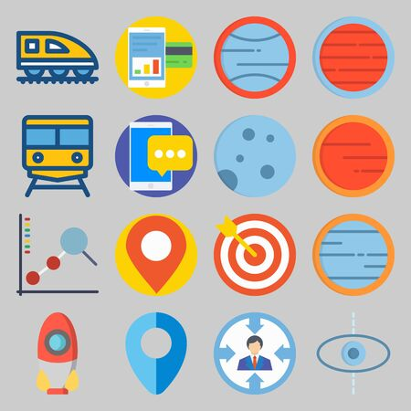 icon set about Transportation with placeholder, planet and moon
