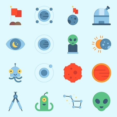 icons set about Universe with moon, constellation, eclipse, mars, alien and meteorite Illustration