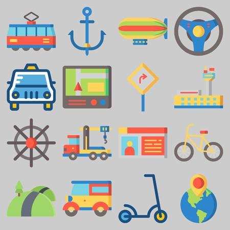 Icons set about Transportation. Illustration