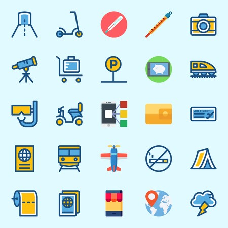 Icons set about Travel with motorbike, plane, no smoking, smartphone, scooter and toilet paper