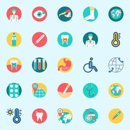 icons set about Medical. with yoga, wheelchair, test tubes, stomach, teeth and tablets Illustration