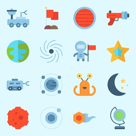 Icons set about Universe with earth, orbit, star, astronaut, comet and moon