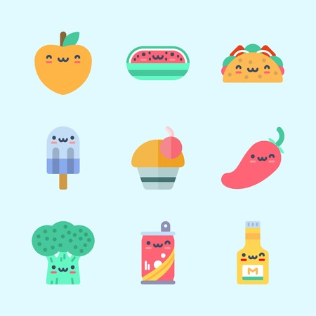 Icons about Food with chili pepper, taco, mustard, cupcake and soda