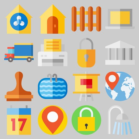 Icon set about Real Assets with keywords ventilation, step ladder, monumental, plan, seventeen and padlock
