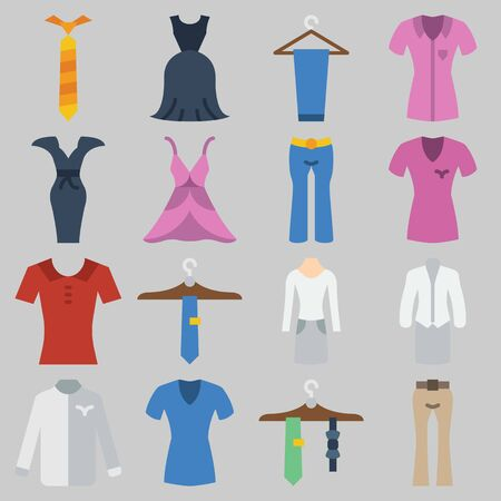 Icon set about Clothes And Accessoires . Stock Illustratie