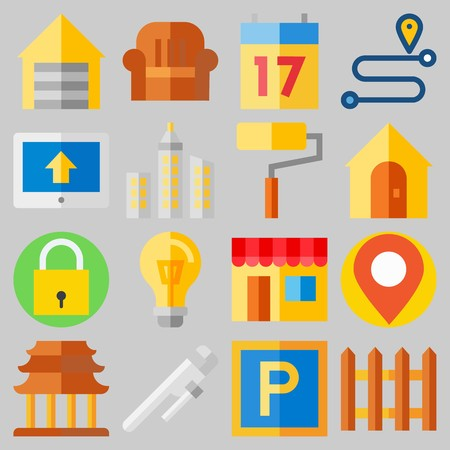 Icon set about Real Assets with keywords route, online store, real estate, maps and flags, picket and seventeen