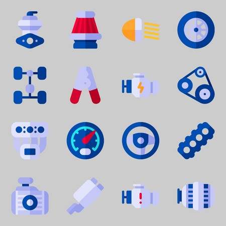 Icon set about car engine with car lights, manifold and steering wheel.