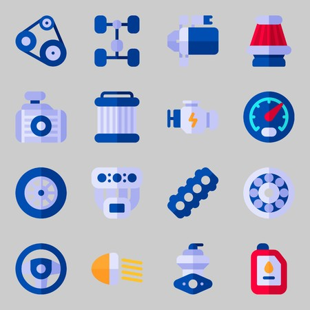 Icon set about car engine with chassis, gauge and air filter.