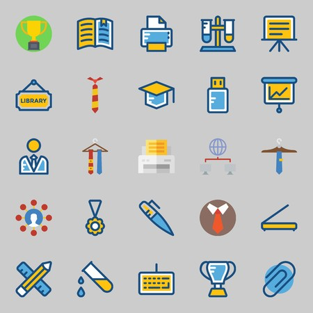 Icon set about school and education with medal, networking, utensils, test tube, presentation and paperclip.
