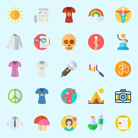 Icon set about hippies with search, mushroom, chart, rainbow, shisha and microphone. Illustration