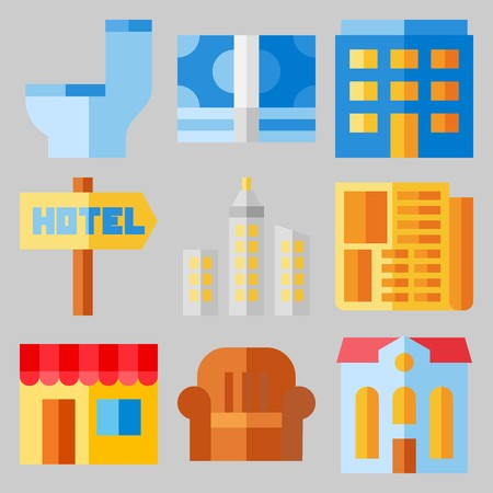 Icon set about real assets with buildings, couch and signage.