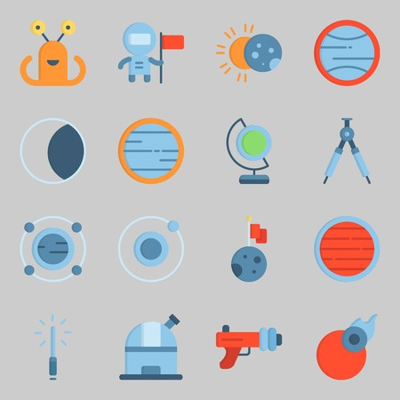 Icon set about universe with alien, orbit and blaster. Illustration