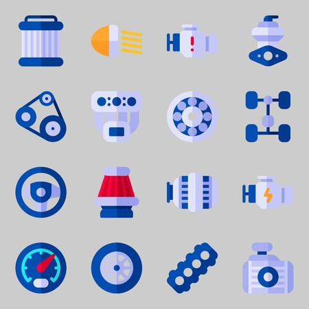Icon set about car engine with chassis, manifold and pulley.