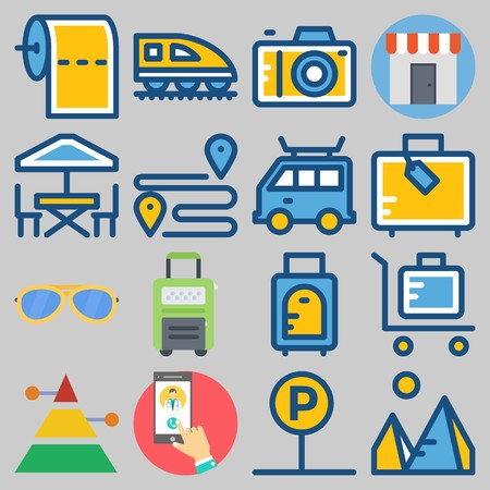 Icon set about travel with sunglasses, tissue paper, mountains, luggage and bus.