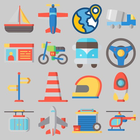 Icon set about transportation with sailboat, earth helmet, steering wheel, airplane and helicopter.