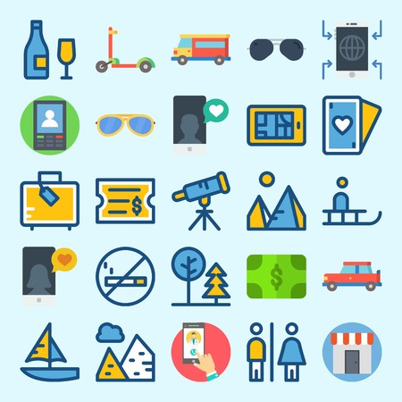 Icon set about travel with telescope, sailboat, pyramids, shop, money and smartphone.