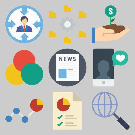 Icon set about marketing with graphs, newspaper and smartphone. Illustration