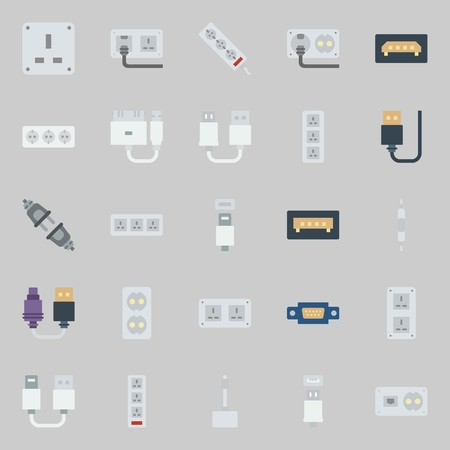 Icon set about connectors cables with volume controller, VGA, USB cable, socket, unplugged. Ilustração