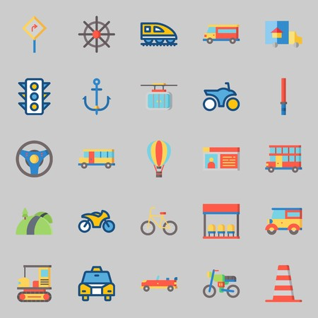 Icon set about transportation with traffic light, sports car, stick, cone and taxi. Ilustração