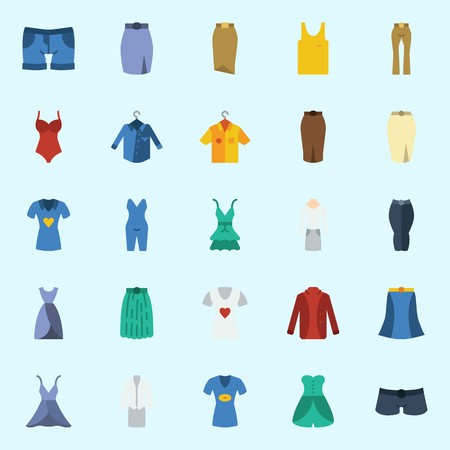 Icon set about women clothes with dress, skirt, swimsuit, pajamas, pants and shorts. Иллюстрация