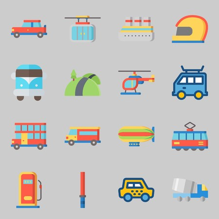 Icon set about transportation with tram, helicopter and road. Çizim