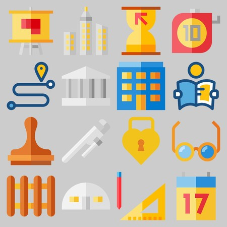 Icon set about real assets with keywords reading glasses, seventeen, measuring, skyline, studying and property. 일러스트