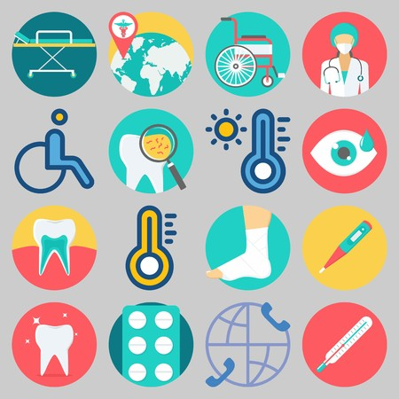 Icon set about medical with keywords tablets, visibility, teeth, sprain, wheelchair and stretcher.