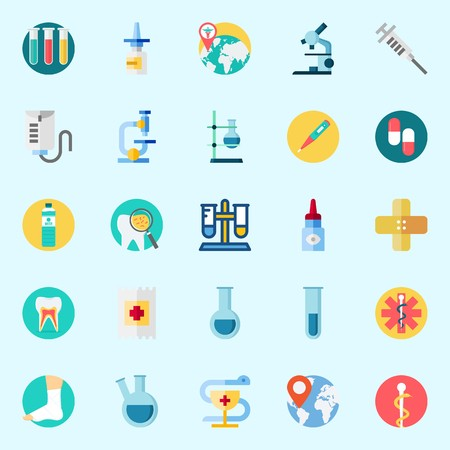 Icons set about Medical with eye drob, syringe, microscope, pills, water and teeth