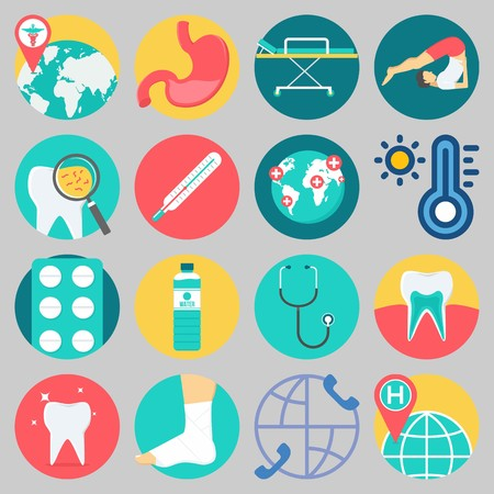 Icon set about medical with keywords stomach, stethoscope, stretcher, yoga, teeth and worldwide.