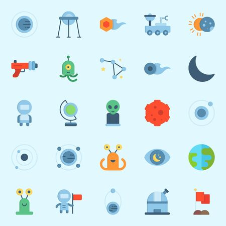 Icon set about universe with orbit, eclipse, flag, observatory, comet and observation.