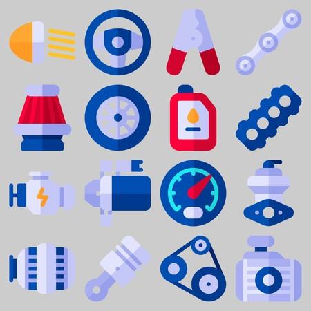 Icon set about car engine. Illustration