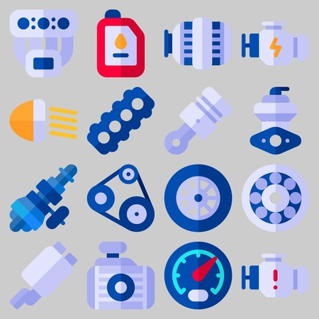 Icon set about Car Engine with keywords manifold, engine, exhaust pipe, gauge, motor and wheel