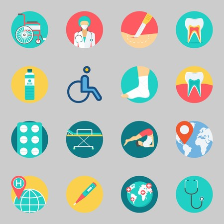 Icon set about medical with stretcher, stethoscope and thermometer. Illustration