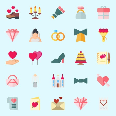 icons set about Wedding. with shoe, handbag, high heels, wedding cake, engagement ring and gift Illustration