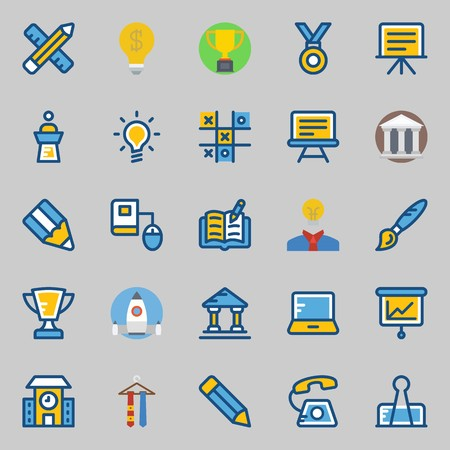 Icon set about school and education with tic tac toe, open book, online education, phone , call and school.